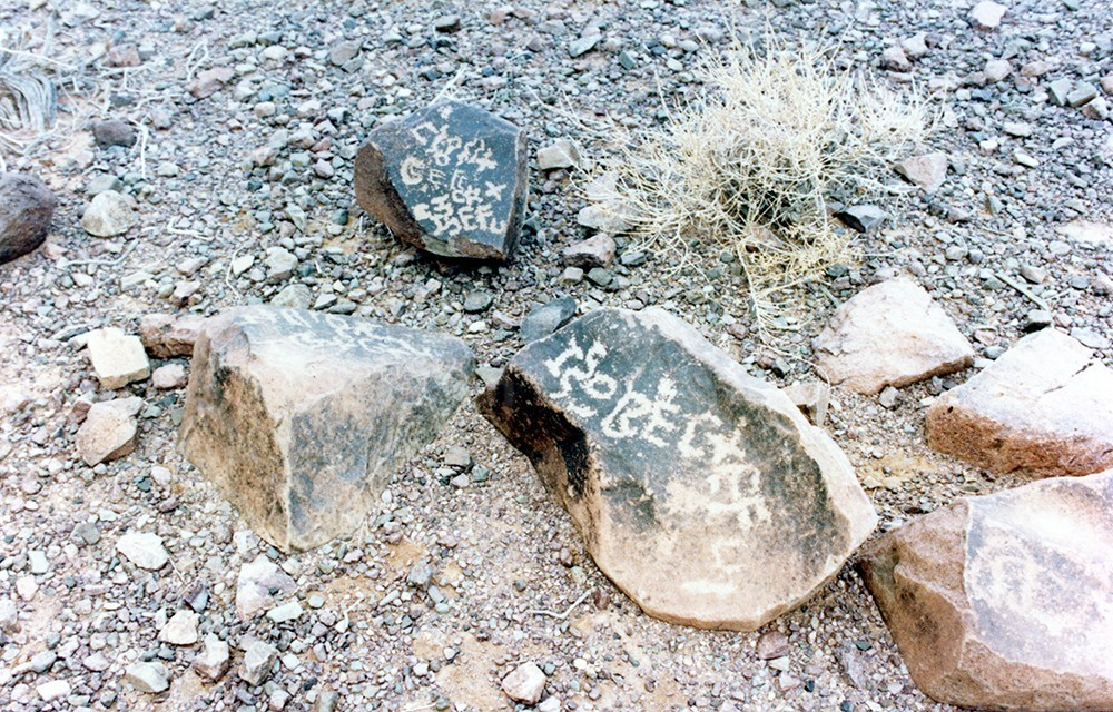 """The inscription on the top rock in the image below is interpreted by Dr. Jones to mean, """"Died Hagar."""" The lower inscription says, """"Died Amiah, daughter of Hagar."""""""